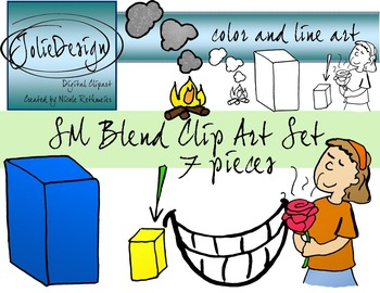 SM Blend Phonics Clip Art Set - Color and Line Art 7 pc set