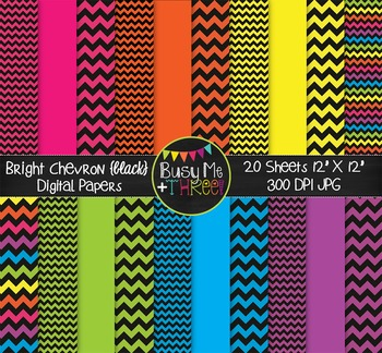 SMALL Bright Chevron {BLACK} Digital Papers {Commercial Us