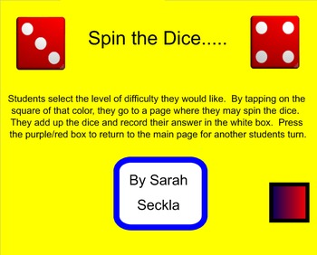 SMART Board - Adding Dice, Math Activity