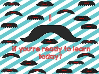 """Interactive Attendance Flipchart """"I Mustache if You Are Re"""