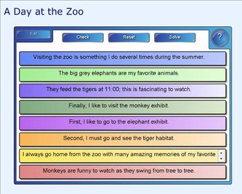SMART Board: Sequencing Paragraph: A Day at the Zoo: Smart