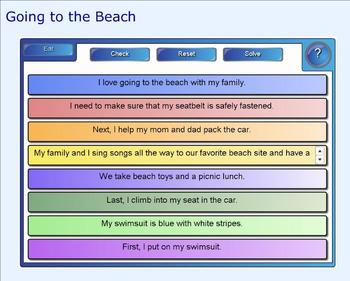 SMART Board: Sequencing Paragraph:Going to the Beach: Smar