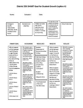 SMART Goals teacher evaluation form for Lucy Calkins Narrative