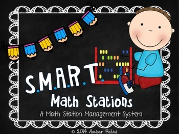 SMART Math Stations - Bright Blue with Pencils Theme