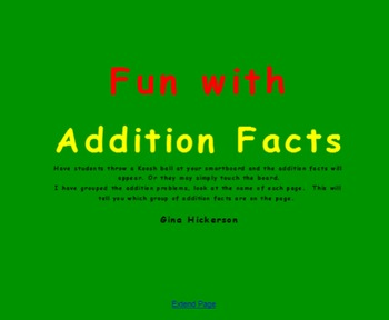SMARTBOARD ADDITION FACT GAME