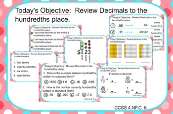 SMARTBOARD LESSON: 14 page review of Decimals to the hundr