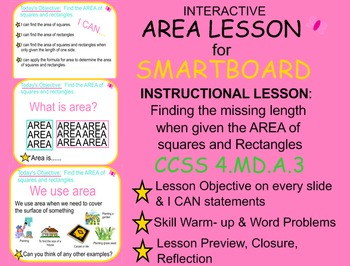 SMARTBOARD LESSON: Finding Area of Squares and Rectangles