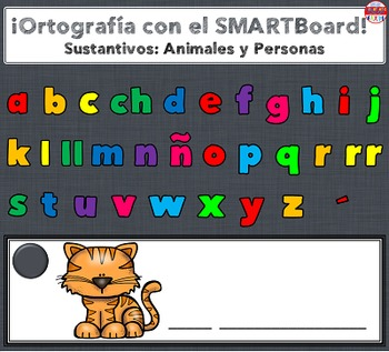 SMARTBoard Lesson - Spelling Spanish Nouns: Animals & People
