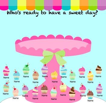 SMARTboard Attendance - Cupcake Theme
