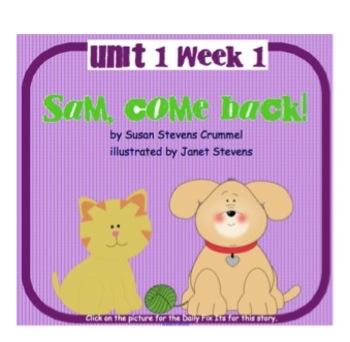 """SMARTboard """"Sam, Come Back!"""" Reading Street First Grade Un"""