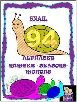 Classroom Decor - SNAIL - ALPHABET - NUMBER - SEASONS - MONTHS