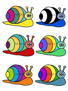 SNAIL CLIPART * COLOR AND BLACK AND WHITE