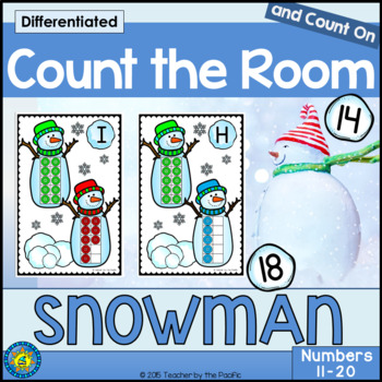 WINTER - SNOWMAN Math - Count the Room – Ten Frames and Nu