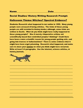 SOCIAL STUDIES/HISTORY WRITING RESEARCH PROMPT: HALLOWEEN: