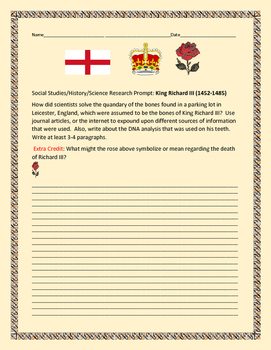 SOCIAL STUDIES/SCIENCE WRITING/RESEARCH PROMPT: RICHARD III
