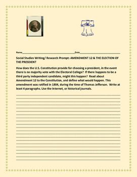 SOCIAL STUDIES WRITING/RESEARCH PROMPT: AMENDMENT 12 : ELE