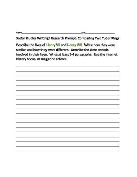 SOCIAL STUDIES WRITING/RESEARCH PROMPT: TUDOR KINGS