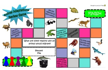 SOL 2.7, 3.4 Animal Adaptations- Board Game Review for Sma