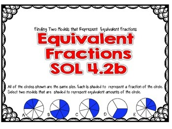 SOL 4.2b Task Cards for Equivalent Fractions-Matching Models