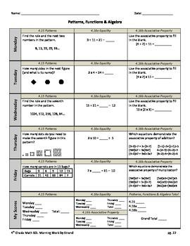 SOL Morning Work by Strand - 4th Grade Math - Patterns, Fu