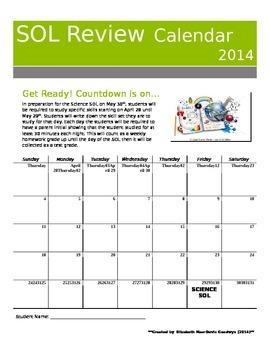 SOL Review Calendar