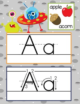 SPACE - Alphabet Cards, Handwriting, ABC Flash Cards, ABC