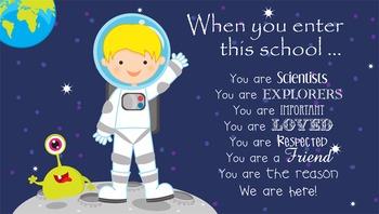 SPACE - Classroom Decor: SMALL BANNER, When you enter this school