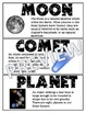 SPACE Illustrated Word Wall (Grade 6 Ontario)