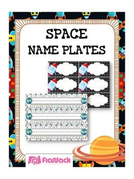 SPACE Themed Name Tags Plates