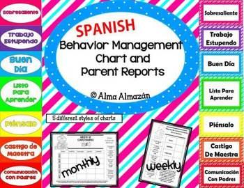SPANISH Behavior Management Charts and Parent Reports