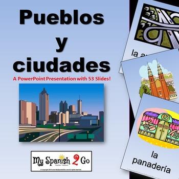 SPANISH CITY VOCABULARY (PUEBLOS Y CIUDADES)--A POWERPOINT