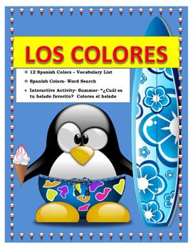 SPANISH COLORS-Vocabulary & Colorea tu Helado Favorito- Sp