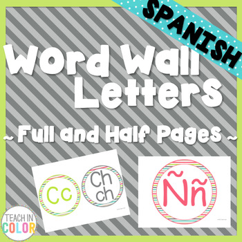 SPANISH Circle Word Wall Letters - Country Cool - Teal, Gr