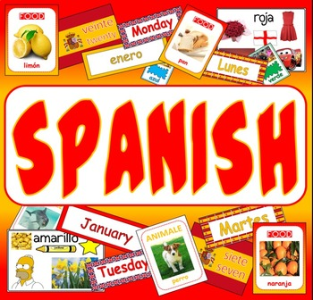 SPANISH LANGUAGE - display posters flashcards colours food