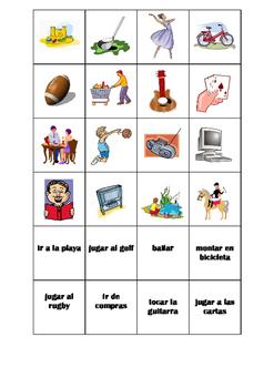 SPANISH - MATCHING GAME - Hobbies