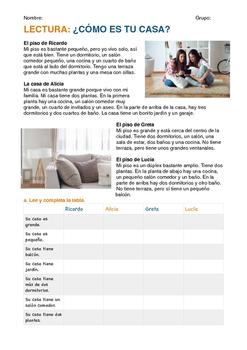 SPANISH READING/ LECTURA: CÓMO ES TU CASA