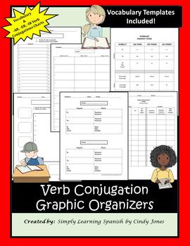 "SPANISH ""Vocabulary & Verb Conjugations Charts"""
