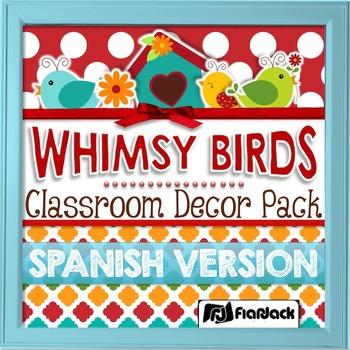 SPANISH Whimsy Birds Classroom Decor Materials Pack