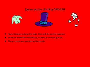 SPANISH clothing jigsaw puzzle