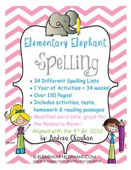 Spelling Curriculum (1 Full year!) CCSS! Grade 4 by Elemen