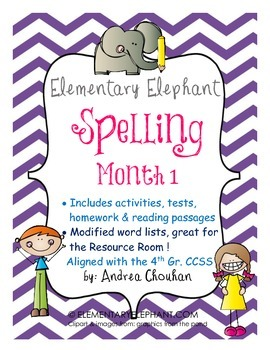 Spelling Curriculum-Month 1- Activity Pack -CCSS! Grade 4