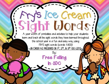 SPECIAL REQUEST- Fry's Ice Cream Sight Words-IN ORDER AS T