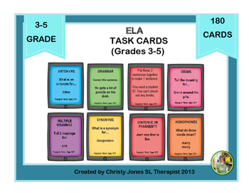 ELA- TASK CARDS for Grade 3 to 5 (With Game)