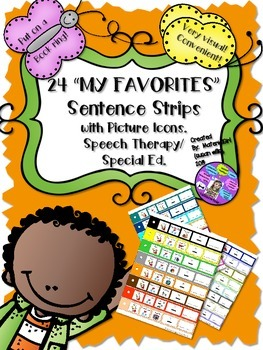 SPEECH THERAPY My Favorites SENTENCE STRIPS Visual Autism