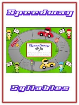 SPEEDWAY Syllables - ELA First Grade Folder Game - Word Wo