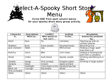 MIDDLE SCHOOL WRITING WORKSHOP SELECT-A-SPOOKY STORY ORGANIZER