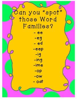 "SPOT the 2-3 letter ""Word Families!"" Gr K-1"