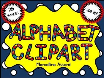SPOTTY ALPHABET CLIPART: UPPERCASE LETTERS CLIPART: RAINBO