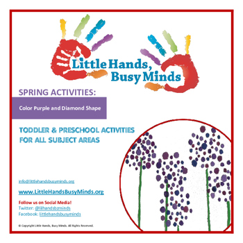 SPRING Activities: Color Purple and Diamond Shape Toddler/