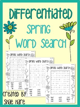 {SPRING} Differentiated Word Search {75 FOLLOWERS FREEBIE}